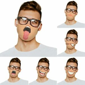 Washable Reusable Face Mask Covering Funny Comedy Face Smile Ladies Mens