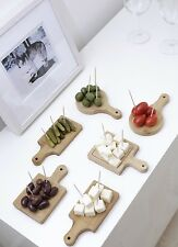 Kikkerland Set Of 6 Mini Serving Bamboo Trays Appetizer Food Wooden Boards Gift