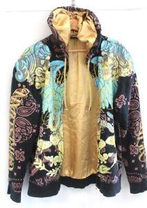 CHRISTIAN AUDIGIER All-Over Print Zip-Up Hooded Sweatshirt Hoodie Size M - H63