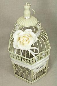 Wedding Birdcage Card Holder Vintage Ivory, Pearl & Silver, Wedding Card Box,