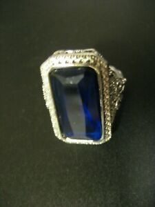 Sterling Silver Blue Stone Ring, size 6.75