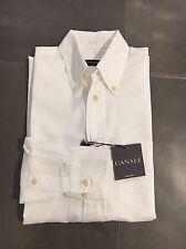 NWT Canali Itali Mens White Sport Dress Casual Dress Shirt Small 38 15 33 $245