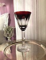 Antik Josephinenhütte Weinglas Römer Kristallglas geschliffen ROT Überfangglas