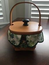 Longaberger Lots of Luck Basket, Lid, Shamrocks Liner, Protector and Charm