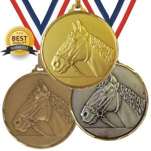 HORSE HEAD EQUESTRIAN BRASS MEDAL 52mm BEST QUALITY, FREE RIBBON, 3 COLOURS,