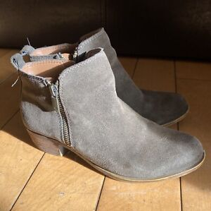 LUCKY BRAND Womens Size 6 / 36 Side Zip Ankle BOOTIES Boots SUEDE Olive