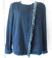 New $258 AG Jeans Denim Jacket L Large Fringe Moto Zip Up Delia Dark Wash