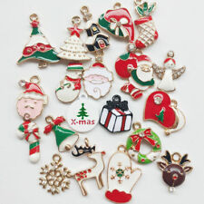 20pcs Mix Lots Christmas Loose Beads Charms Jewelry Marking Claus Tree Snowman