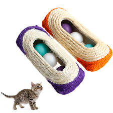 3 Trapped Ball Rolling Sisal Scratching Post Pet Toy Cat Kitten Toy Random Color
