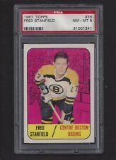 1967 Topps #38 Fred Stanfield, PSA 8 NM-MT, Boston Bruins Vintage Hockey 1967-68