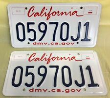 NOS~PAIR.~CALIFORNIA~LICENSE PLATE~NEW-LIPSTICK-Pr.~( 0597 OJ 1 )~~Ships Free