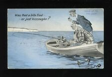 Fishing Comic Rowing Boat Novelty HOLD TO LIGHT c1950s? PPC
