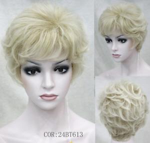 Women Wig Short Curly Wig Ladies Hair Fluffy Wig Light Blonde Cosplay Wigs