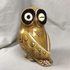 Ceramic Owl Piggy Bank Vintage Norcrest Gold/Tan Winking Eye Japan
