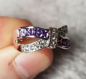 Womans Size L. Amethyst & Diamond Silver Ring