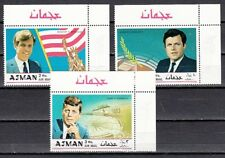Ajman, Mi cat. 445-447 A. John, Robert and Ted Kennedy issue.