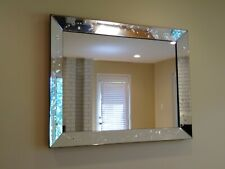 47x37x2.5 Art Deco Hollywood Regency Beveled Etched Mirrored Frame Wall Mirror