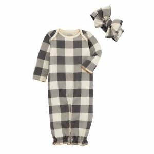 Mud Pie Kids Brown Buffalo Check Baby Sleeper Convertible Gown Headband Set