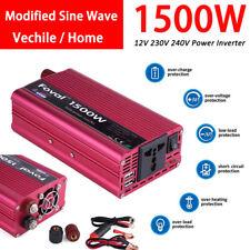 1500W DC 12V to AC 230V Car Power Inverter Charger Converter 4.8A Dual USB Port