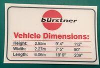 Burstner Motorhome Height Sticker - Waterproof & Personalised