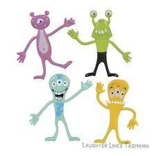 Special Needs Fidget Toys Set 4x Bendy Monster Aliens Flexible School aide ASD