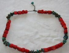 VTG RED natural CORAL Turquoise BEAD NECKLACE 62 GRAMS 925 sterling silver