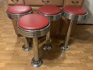 1950's Diner Counter Stools -Set Of 4- Beutiful Condition