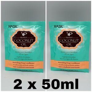 2 X Hask Conditioner Coconut Oil Monoi 50g / 50ml Travel Sachet All Hair Types