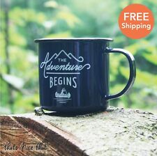 Blue Adventure Begins Enamel Mug Camping BBQ Gardening Metal Gift Vintage Cup