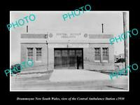 OLD LARGE HISTORIC PHOTO OF DRUMMOYNE NSW, THE DISTRICT AMBULANCE STATION c1930