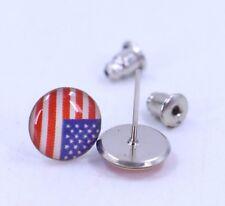Pair Of 8mm USA Flag Stud Earrings United States Enamel Ear Rings America US