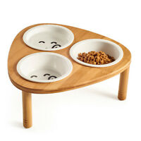 Bamboo Elevated Dog Cat Food Water Bowls Stand Feeder with 3 Ceramic Bowls