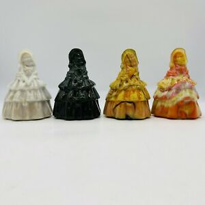 """Lot of 4 Boyd Art Glass 4"""" Louise Figurines Paperweights"""