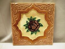 Antique Tile Ceramic Porcelain Majolica Japan Rose Geometrical Design Collel*507