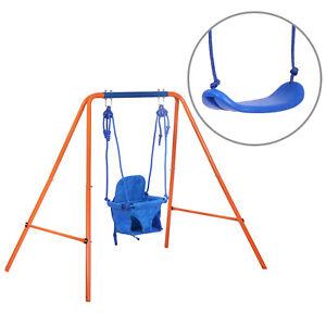 JL Comfurni Folding Kids Baby Toddler Swing Set Metal Frame Play Fun In/Outdoor