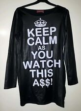 Keep Calm and Watch this A$$ Black Mini Dress. Size M/L New without tags.