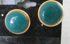 "Green Center Gold Tone Frame 3/4"" Vintage 1980 Stud Pierced Earrings Acrylic"