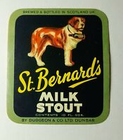 Vintage Beer Label St Bernards Scotland Old Unused Stock Circa 1959