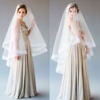 Wedding Veils Fingertip Length 2 Layers with Comb Cover Face Horse-hem Bridal