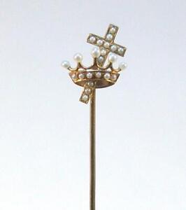 Fine Vintage Estate 14K Yellow Gold CROSS & CROWN Seed Pearl Stick Pin