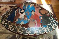 Antique Unique Japanese/chinese Handpainted Etched Lacquer Clam Shape Box