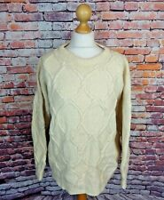 "Vintage cable aran chunky hand knit pure wool jumper bust 50"" 22 XL cream"