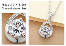 Sparkling 925 Silver Tear-drop CLEAR Crystal Pendant Chain Necklace Jewelry Gift