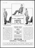 1932 Switlik Parachute Wear Only Harness, Seat Cushion is Chute vintage print ad