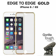 Genuine Full Cover Tempered Glass Screen Protector Curved Gold for iPhone 6S/6