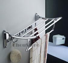 Wall Mounted Chrome Bathroom Foldable Towel Rack Shelf Rails Double Bar C45