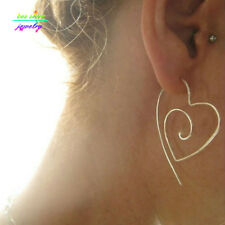 Heart Wire Threader Hoop Earrings Lightweight Gold, Silver Plated ,Black New