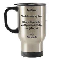 Dear Sister Punch Travel Mug - Gifts for Sister Birthday Christmas