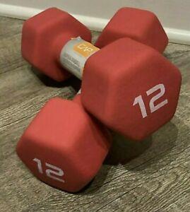 2 x 12lb Pair of Cap Red Neoprene Dumbbells Hand Weights (24lbs Total)