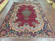 """Semi Antique Hand Knotted Kerman Persian Rug Floral Carpet 7x10,6'11""""x9'10"""""""
